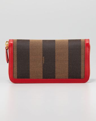 Fendi Pequin Ziparound Striped Canvas Wallet Tobaccored - Lyst