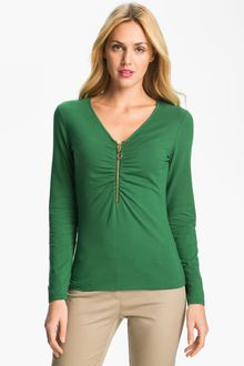 Michael by Michael Kors Vneck Zip Front Top - Lyst