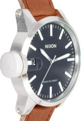 Nixon Chronicle Leather Watch in Brown for Men - Lyst