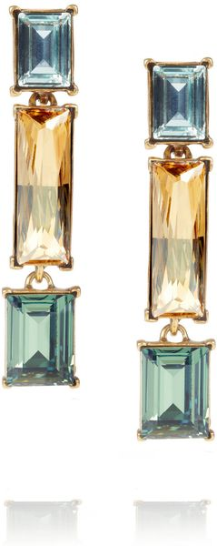 Oscar De La Renta 24karat Gold Plated Swarovski Crystal Clip Earrings in Multicolor (gold) - Lyst