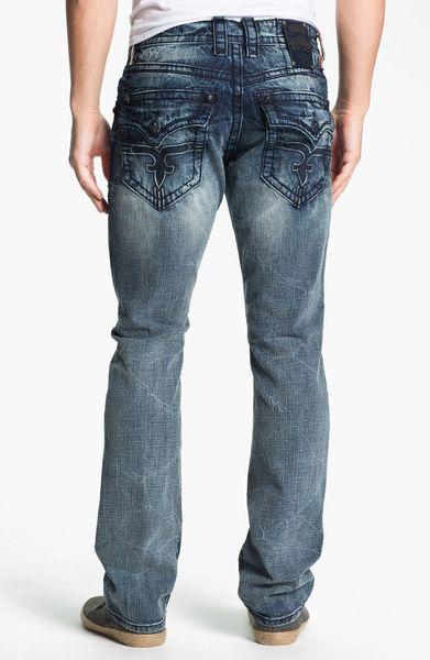 Rock Revival Dain Straight Leg Jeans In Blue For Men