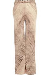 Willow Crocprint Silk chiffon Wide-leg Pants - Lyst