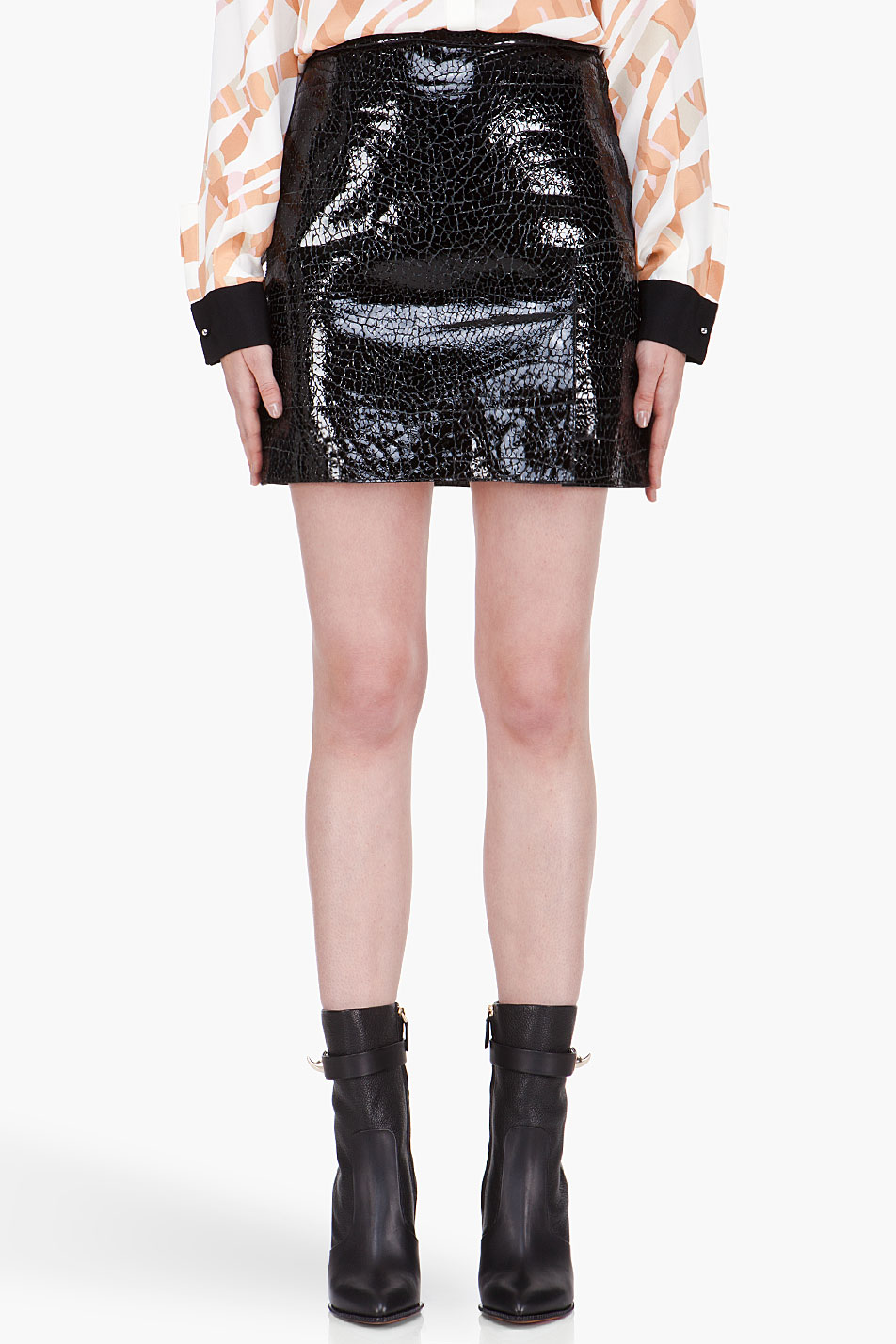 3 1 phillip lim black lizardskin patent leather skirt in