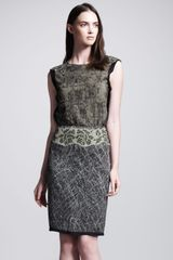 Bottega Veneta Graphicprinted Studded Skirt - Lyst