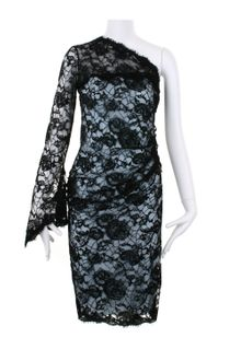 Emilio Pucci Asymmetric Dress in Black Lace with Flower Pattern - Lyst