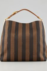 Fendi Pequin Large Striped Hobo Bag Tobaccolight Camel - Lyst