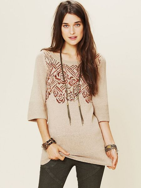Free People Floral Tunic in Beige (oatmeal)