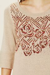 Free People Floral Tunic in Beige (oatmeal) - Lyst