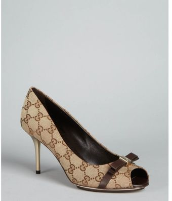 Gucci Beige Gg Canvas Peep Toe Bow Pumps - Lyst