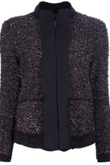 Lanvin Bouclé Zip Up Jacket - Lyst