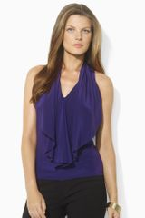 Lauren by Ralph Lauren Silk Sleeveless Ruffled Blouse - Lyst