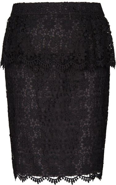 Mango Lace Peplum Skirt in Black - Lyst