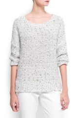 Mango Flecked Lurex Jumper in White (off white) - Lyst