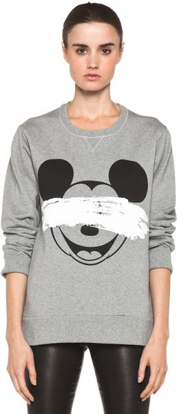 Neil Barrett Mickey Print Sweatshirt in Smoke Melange Black - Lyst