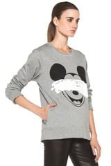 Neil Barrett Mickey Print Sweatshirt in Smoke Melange Black in Gray (smoke melange & black) - Lyst