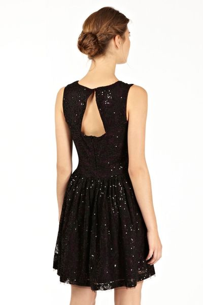 Oasis Lace Sequin Dress In Black Multi Coloured Lyst