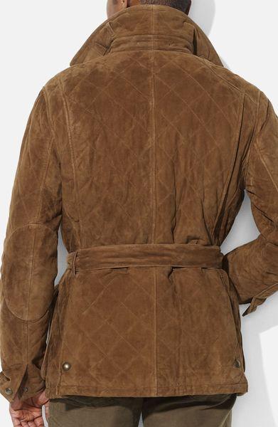 Polo Ralph Lauren Quilted Suede Car Coat In Brown For Men