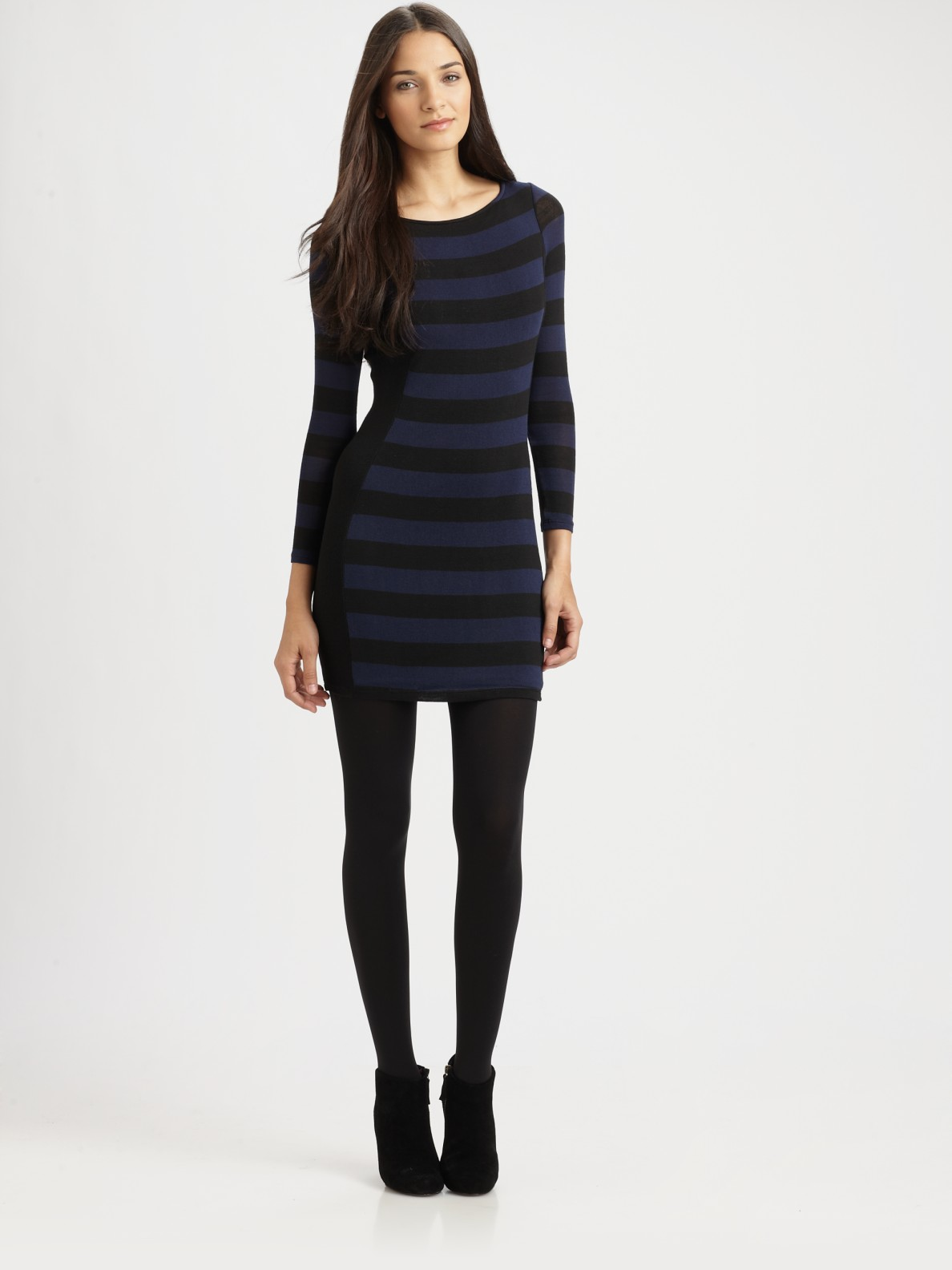 Red Haute Striped Bodycon Sweater Dress In Blue Navy Lyst