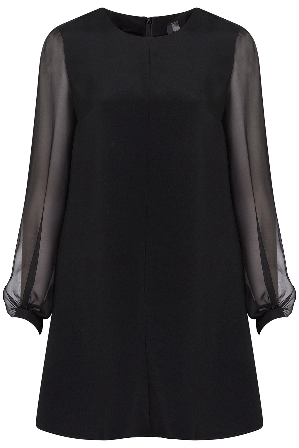 Topshop Sheer Sleeve Shift Dress By Boutique In Black Lyst
