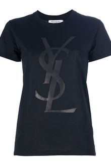Yves Saint Laurent Leather Logo T-Shirt - Lyst