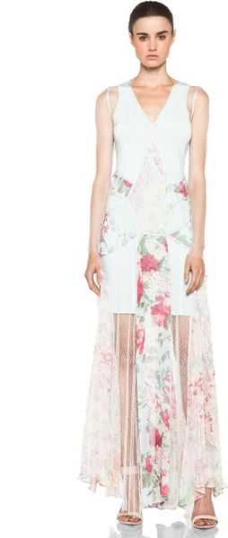 Zimmermann Clieque Paneled Fishnet Dress  in White (floral)