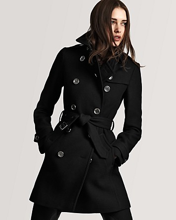 Burberry Brit Balmoral Classic Wool Trench in Black | Lyst