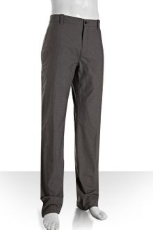 John Varvatos Light Grey Herringbone Cotton Flat Front Pants - Lyst