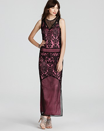 64346372870 Juicy Couture Dot Floral Lace Combo Maxi Dress in Black - Lyst