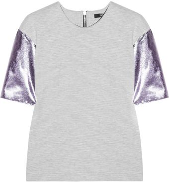 Markus Lupfer Metallicsleeved Cottonblend Stretchjersey Top - Lyst