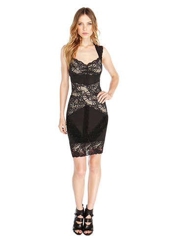 Nicole miller Stretch Lace Dress in Black | Lyst