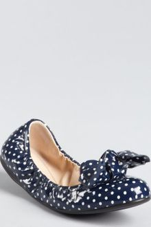 Prada Patent Leather Polka Dot Bow Detail Ballet Flats - Lyst