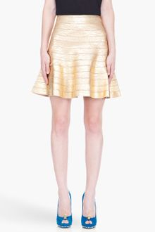 Hervé Léger Gold Paneled Skirt - Lyst