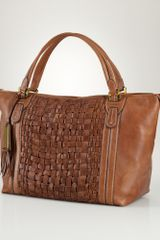 Lauren by Ralph Lauren Woven Leather Tote - Lyst