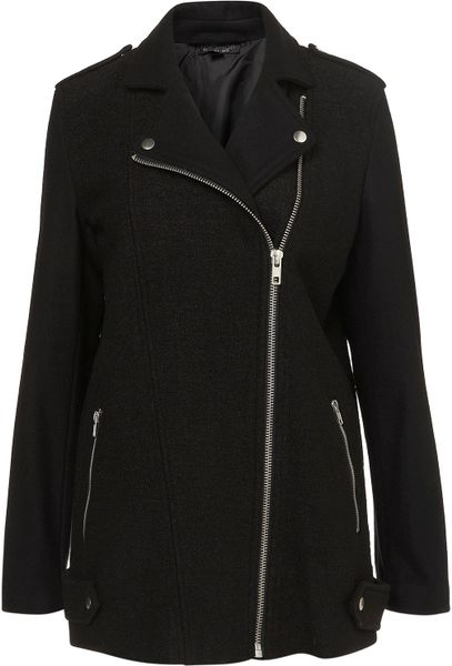 Topshop Boiled Wool Biker Coat in Black - Lyst