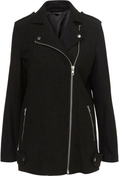 Topshop Boiled Wool Biker Coat in Black