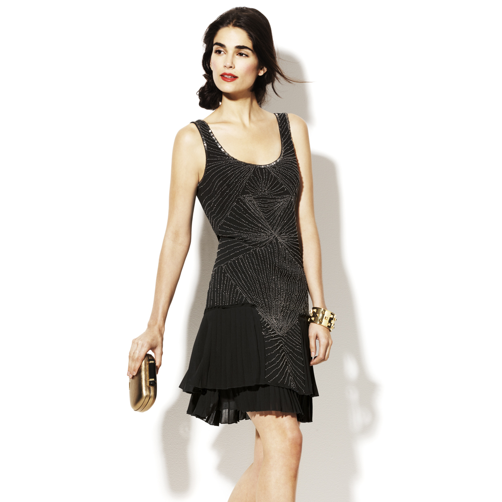 Vince camuto Sequin Pattern Tank Dress in Black  Lyst