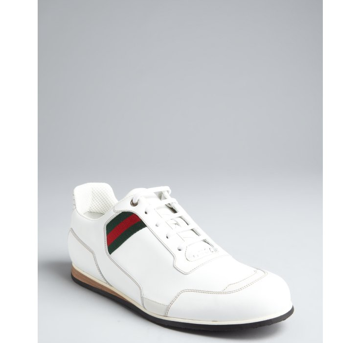 125edfb94f3 Lyst - Gucci White Leather Web Stripe Sneakers in White for Men