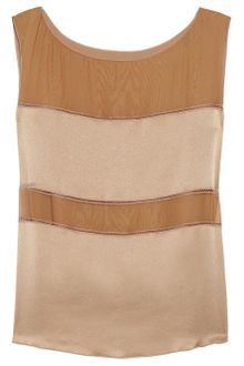 Alberta Ferretti Paneled Silk Chiffon and Charmeuse Top - Lyst