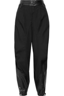 Alexander Wang Leather Paneled Wool Twill Pants - Lyst