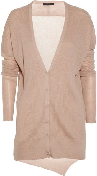 Alexander Wang Ribbed Silk and Alpacablend Cardigan - Lyst
