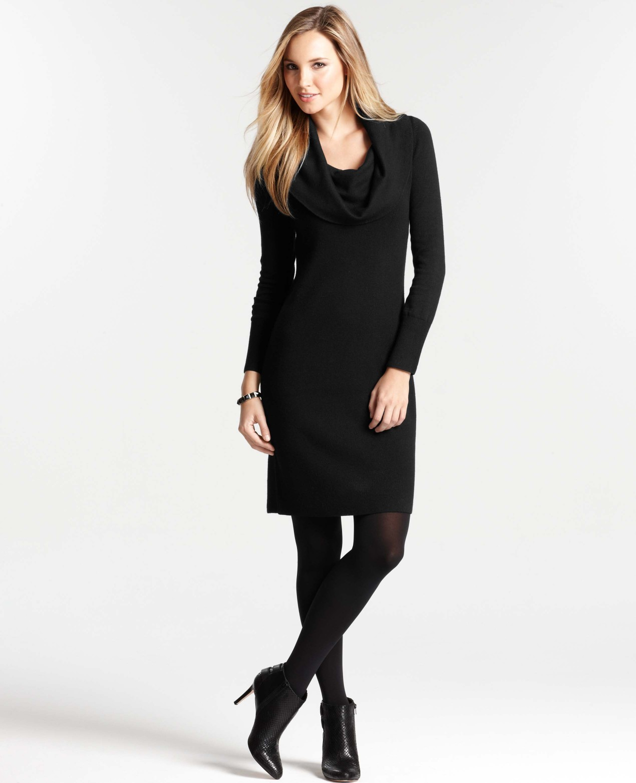 Ann taylor Petite Cowl Neck Sweater Dress in Black | Lyst