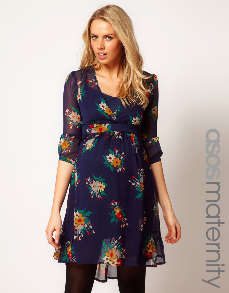 Lyst asos chiffon tea dress in floral print gallery womens tea dresses ombrellifo Image collections