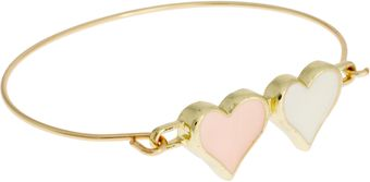 Asos Double Heart Skinny Bangle - Lyst