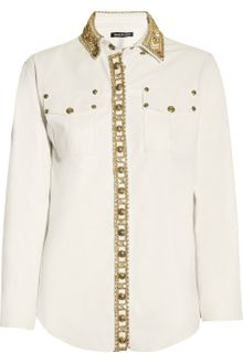 Balmain Crystalembellished Leather Shirt - Lyst