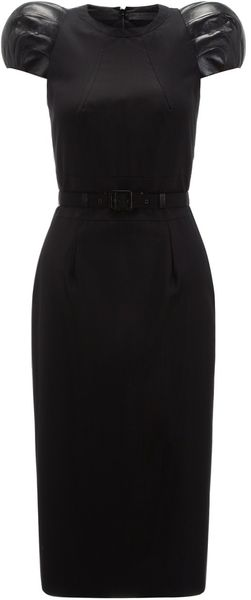 Boudicca Leather Ball Sleeve Pencil Dress - Lyst