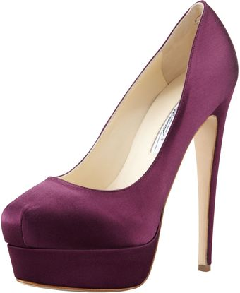 Brian Atwood Hamper Satin Platform Pump Purple - Lyst