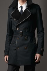 Burberry Midlength Wool Collar Cotton Gabardine Trench Coat - Lyst