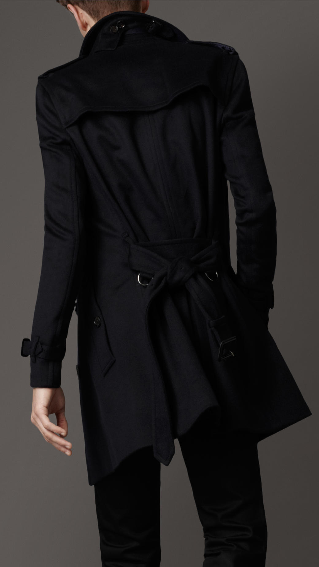 Burberry Wool Trench Coat in Blue for Men | Lyst