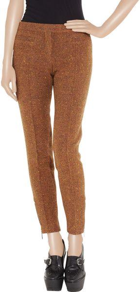 Burberry Prorsum Wool Blend Tweed Cropped Pants In Orange