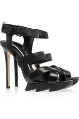 Camilla Skovgaard Lizardstamped Leather Sandals - Lyst